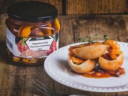 Tiigerkrevetid Toscana tomatiga õlis suupistega