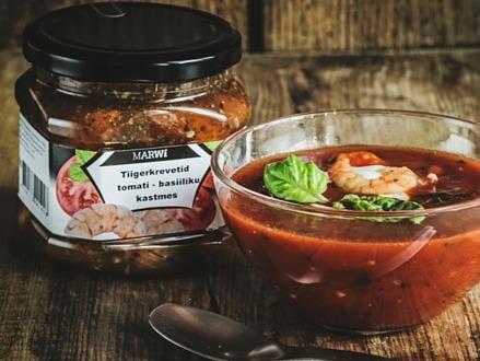 Tiigerkrevetid tomati ja basiiliku kastmes supp
