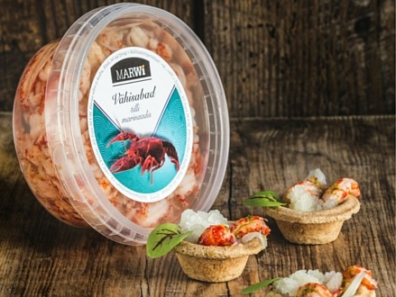 Snacks with crayfish tails in dill marinade